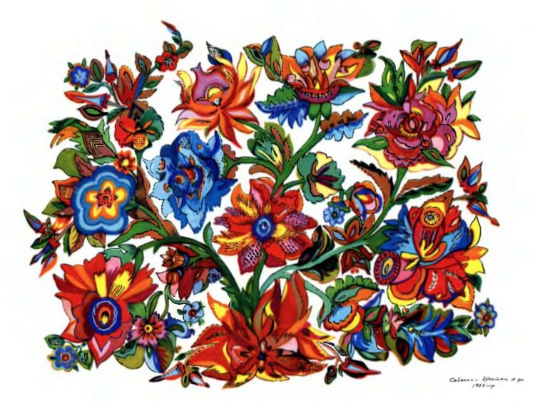 художница, Мои любимые цветы 1963, Анна Собачко-Шостак, живопись, Украина, картины,