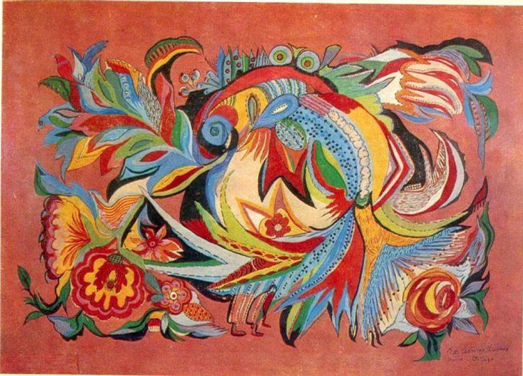 художница, Рыба 1964, Анна Собачко-Шостак, живопись, Украина, картины,