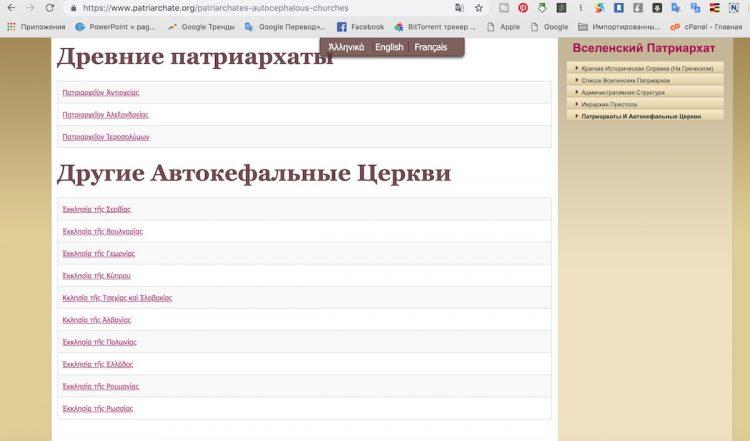 официальные православные церкви, сайт Вселенского патриархата