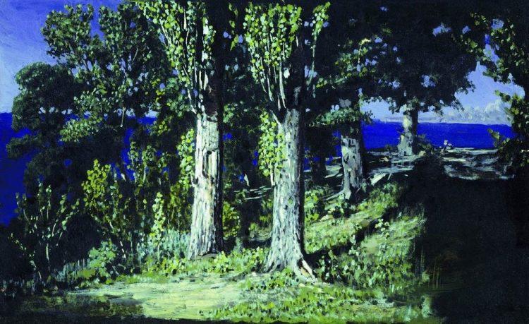 Куинджи, картины, Кипарисы на берегу моря. Крым