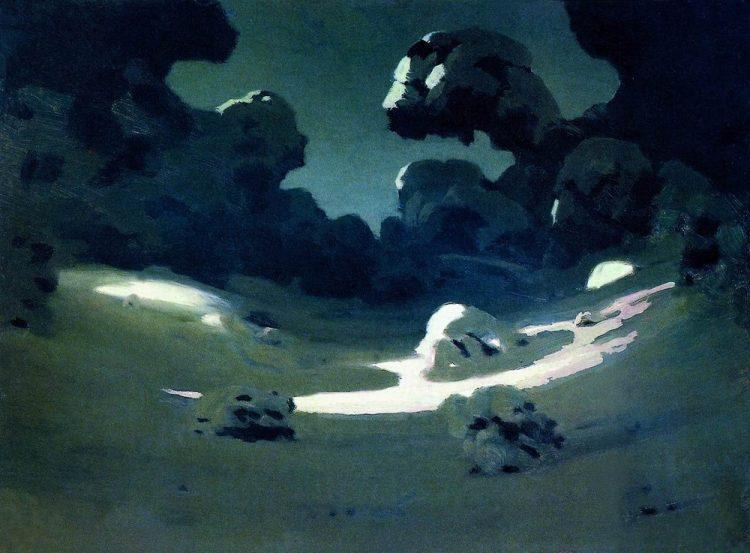 Куинджи, картины, Пятна лунного света в лесу. Зима