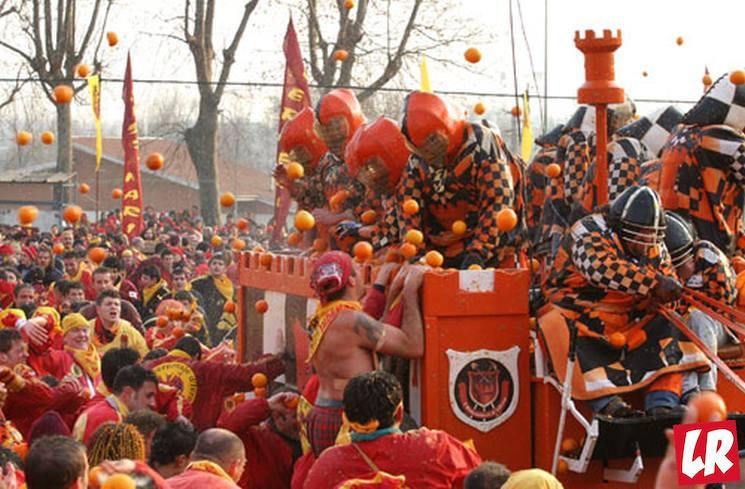 фишки дня - 2 марта, карнавал Ивреа, битва апельсинов Италия