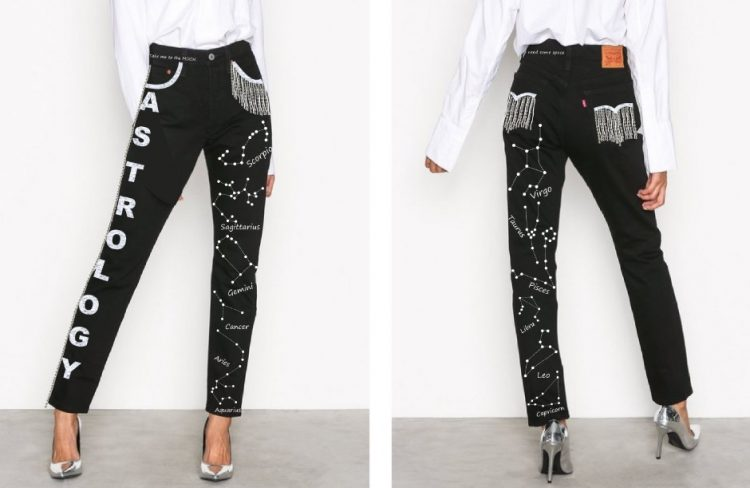 джинсы, космос, астрология, бисер, тяжелые джинсы