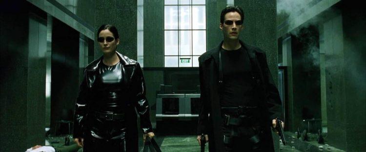 матрица, кадр из фильма, Нео, Тринити