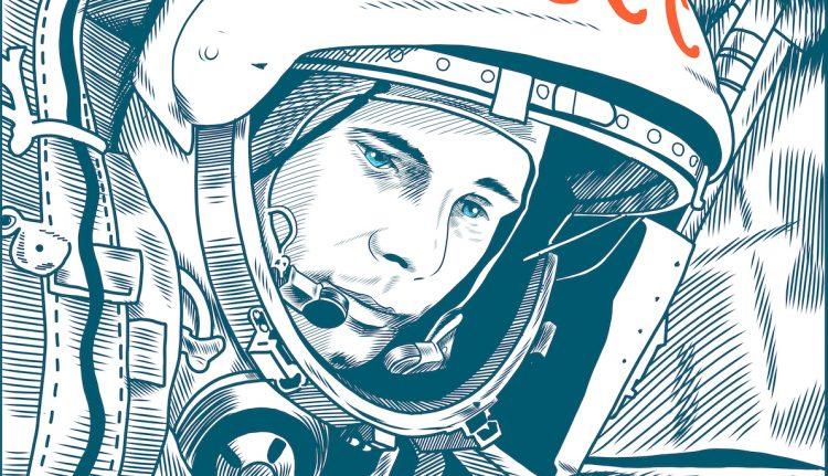 Юрий Гагарин, космонавт, рисунок