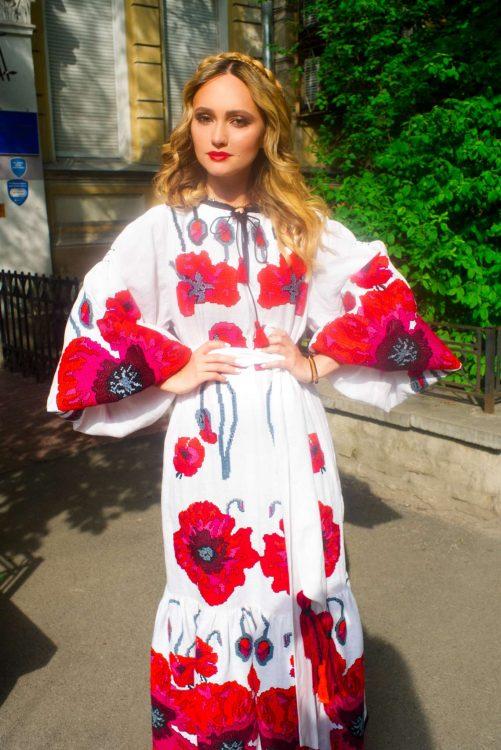 вышиванки, модель, мода, маки, цветы