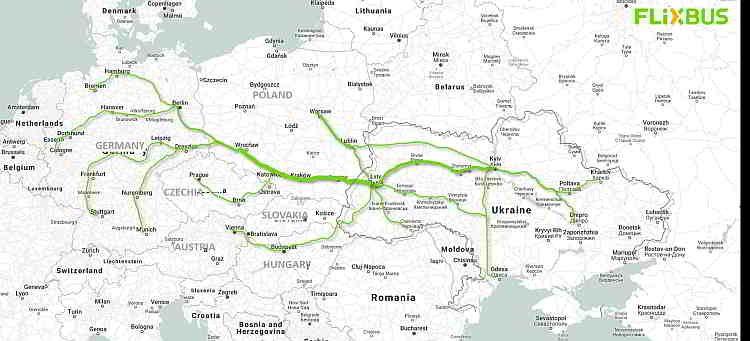 карта, автобусное сообщение, FlixBus, маршруты, направления