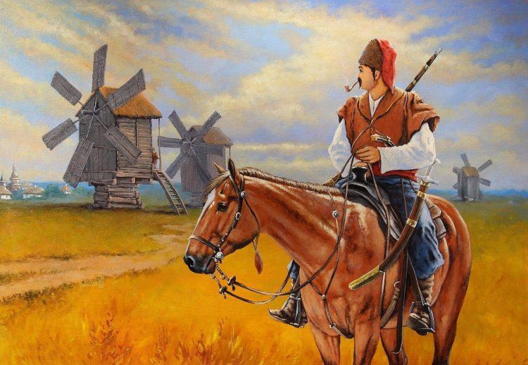 казаки, Запорожская Сечь, ветряные мельницы