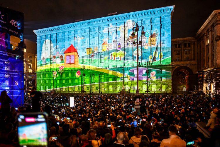 Световое шоу, Киев, КГГА, дополненная реальность, Проект Здійсни мрію, мечты, космос, 1+1, телеканал