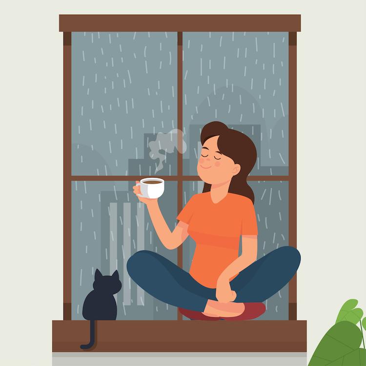 кот, кошка, мимими, дождь, кофе, оптимизм, настроение