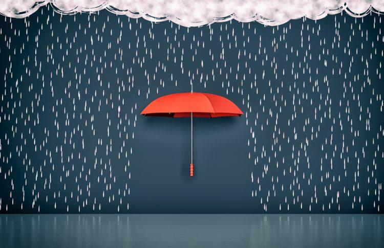 дождь, зонтик, облака, небо