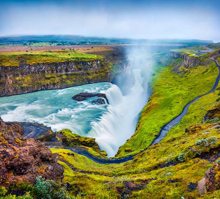 Исландия, Огромный водопад Gullfoss, Лучшие страны для отдыха