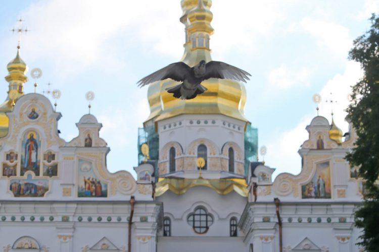 Киево-Печерская лавра, Успенский собор, молитва о коронавирусе, голубь, служба, богослужение