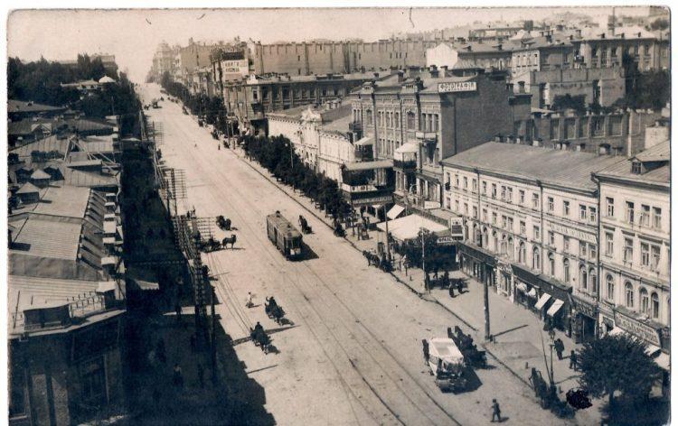 История Киева – улица Богдана Хмельницкого, кондитерская Франсуа, старое фото, начало 20 века