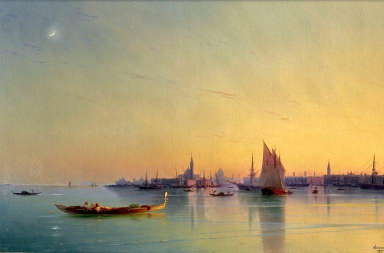 Айвазовский в Венеции, картина, Закат