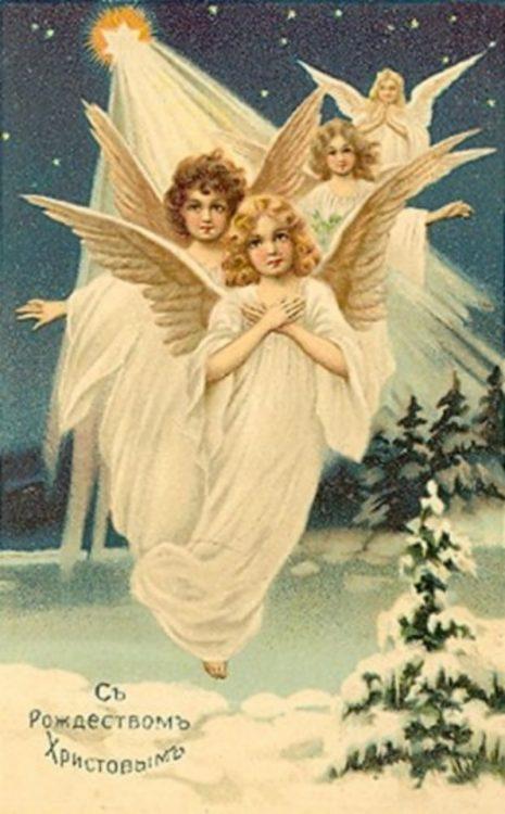 Рождество, ангелы, поздравления